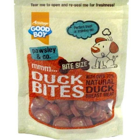GOOD BOY DUCK BITES BITE SIZE DOG TREATS MADE WITH REAL DUCK BREAST MEAT